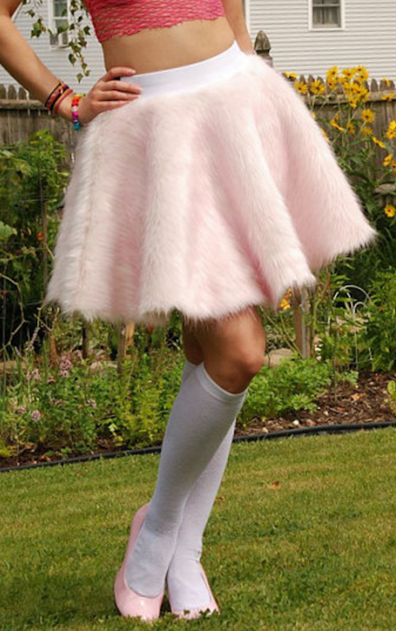 0f0ee3c737 Pink and white faux fur circle skirt custom size | Blingby