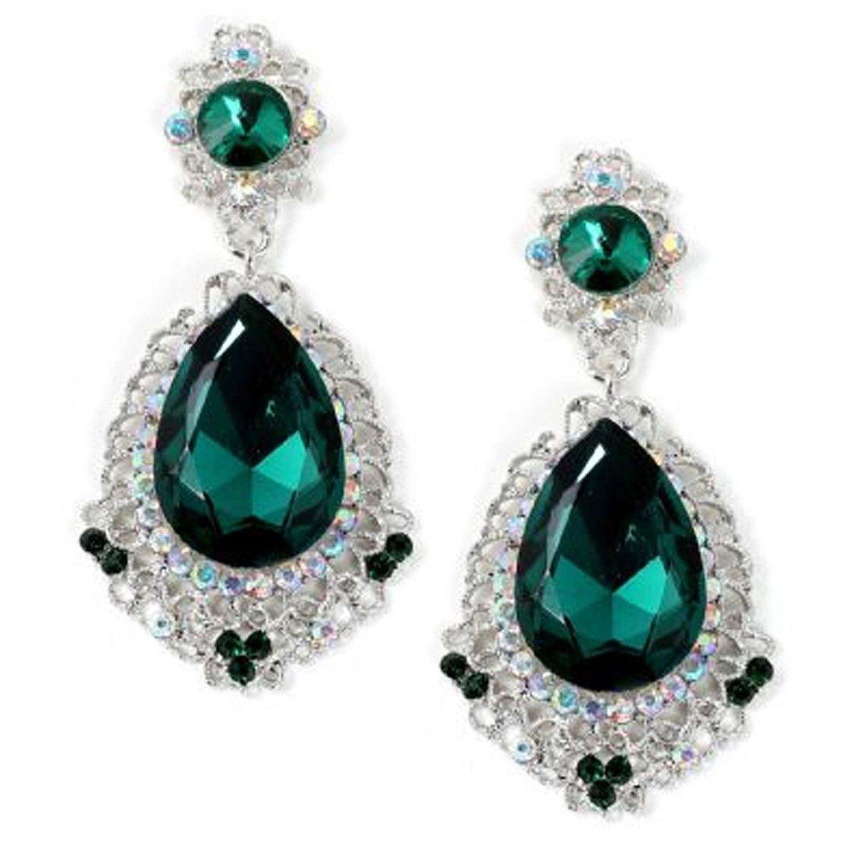 Large emerald green crystal and rhinestone chandelier earrings large emerald green crystal and rhinestone chandelier earrings prom bridesmaid jewelry aloadofball Images