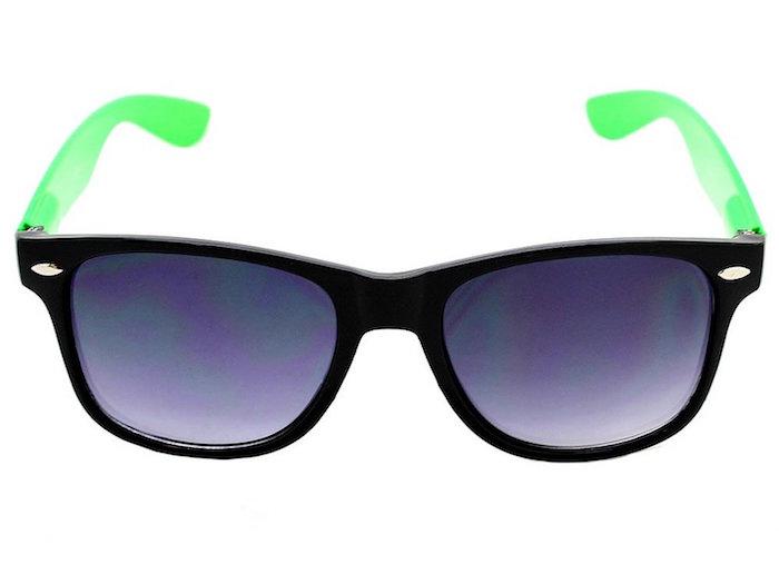 bf3ba1377e Neon Black   Green Plastic Wayfarer Sunglasses 80 s
