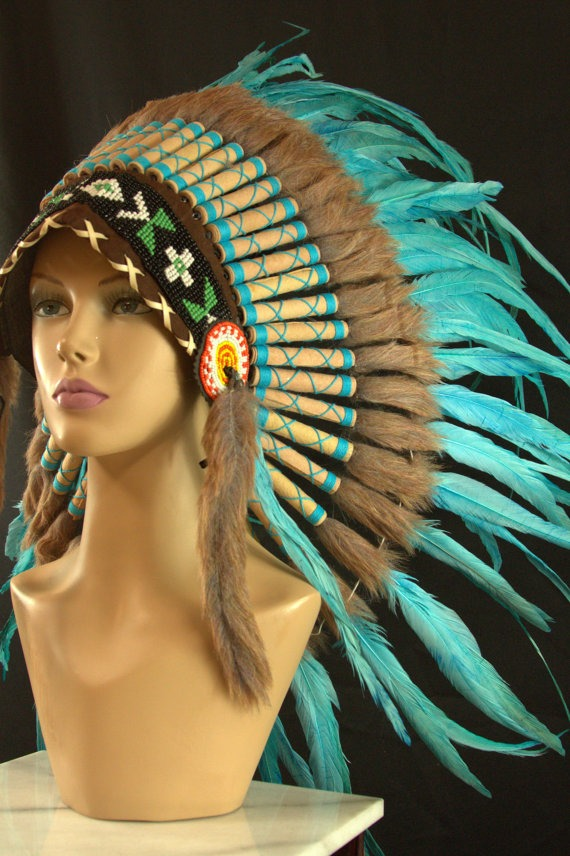 Authentic Indian Headdress Small Teal Native American Chief Hat Hand