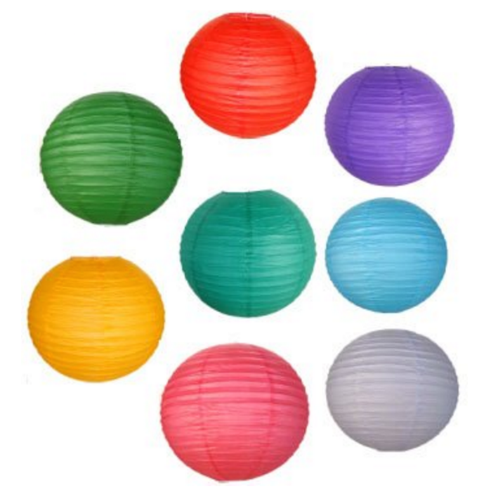 8 Assorted (DIFFERENT) Color Paper Lanterns/lamps 8