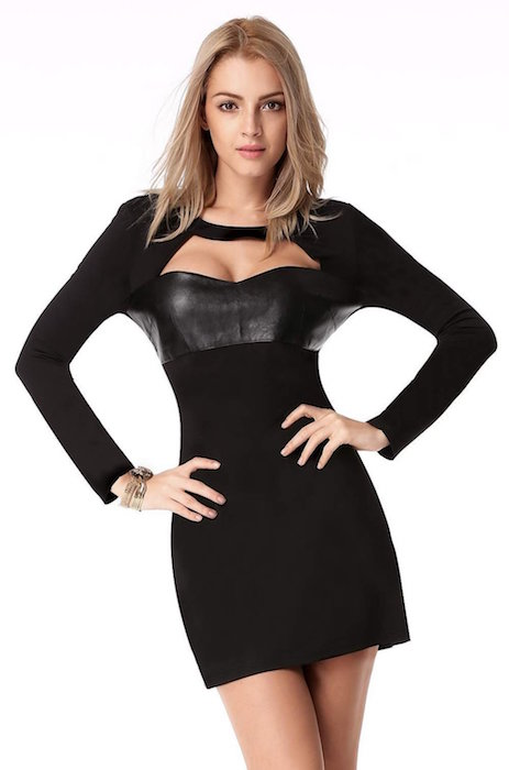 Finejo Women's Long Sleeve Bodycon Leather Casual Party Mini Dresses