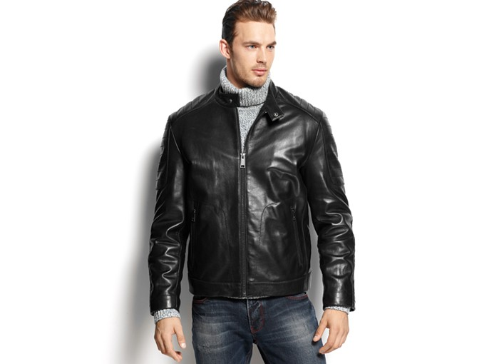 Calvin klein hooded faux leather moto jacket men's