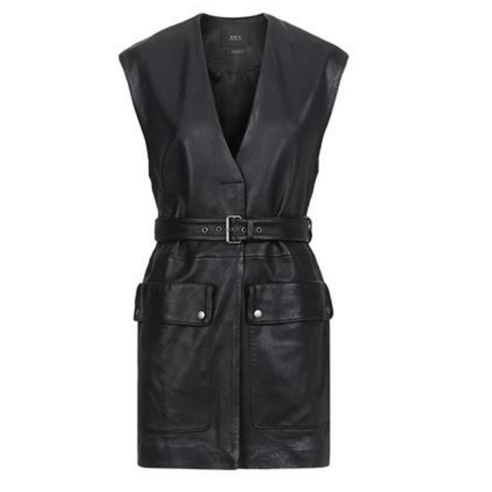SET Long Leather Waistcoat