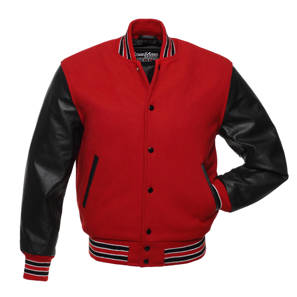 Red Wool And Black Leather Letterman Jacket Blingby