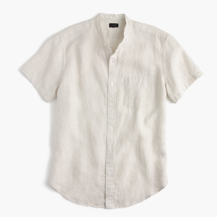 Short Sleeve Band Collar Shirt In Irish Linen Blingby