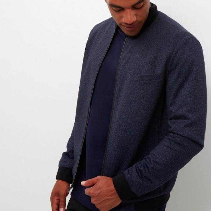 Navy Jersey Tailored Bomber Jacket
