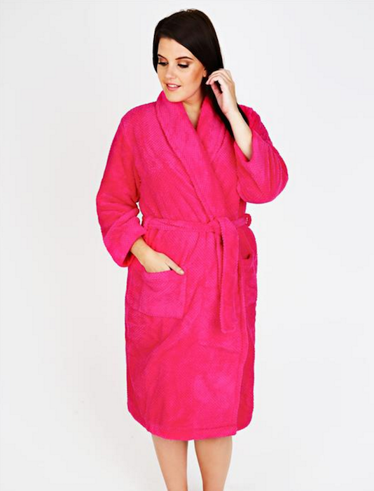 Bright Pink Super Soft Fleece Dressing Gown With Pockets | Blingby