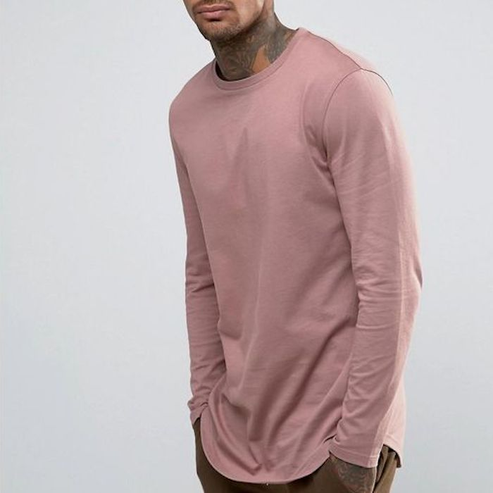 265ba4959cbb ASOS Relaxed Longline Long Sleeve T-Shirt With Curve Hem In Pink