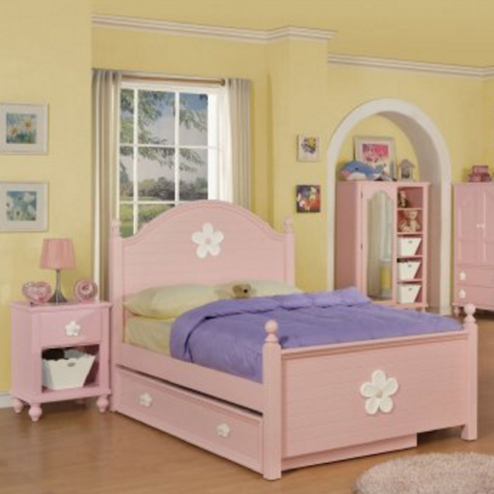 Floresville Pink Wood Twin Bed - By Acme Furniture
