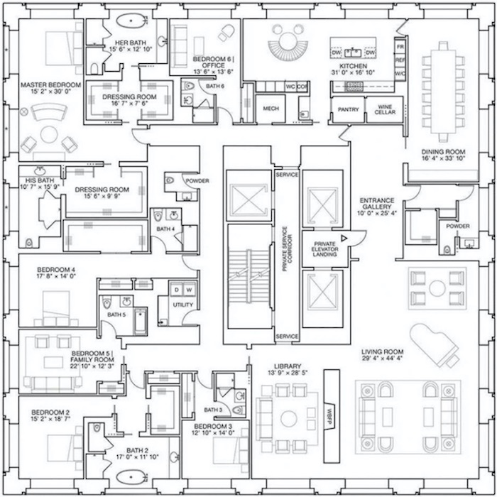 795 million luxury penthouse ph92 floor plans - Luxury Penthouse Floor Plans