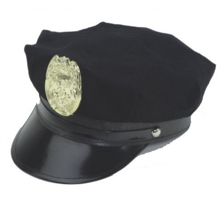 Jacobson Hat Company Police Hat with Bright Gold Plastic Badge - Black