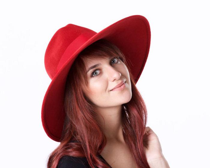 Wide Brimmed Hat Red Fedora Hat