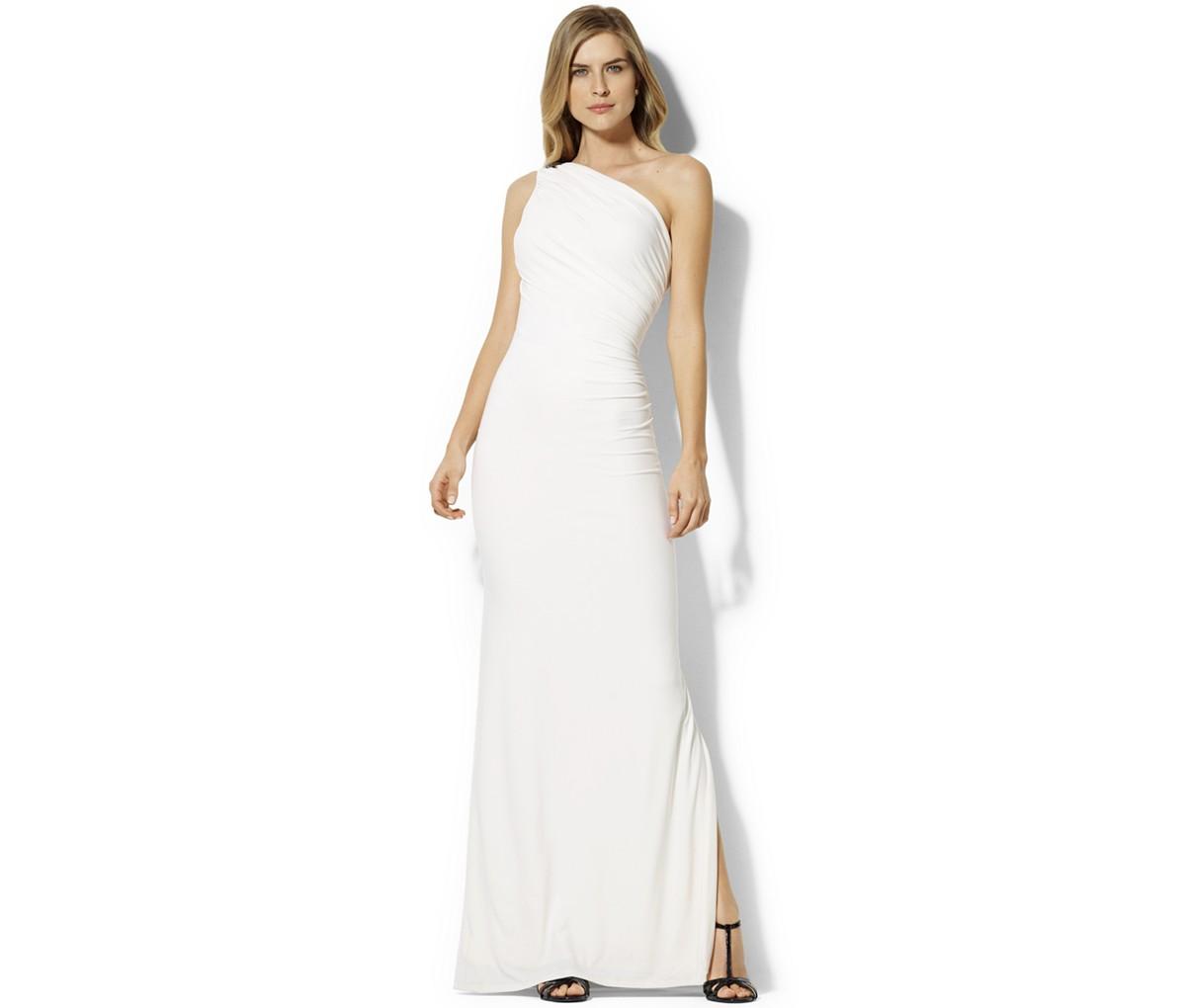 Lauren Ralph Lauren One-Shoulder Brooch Gown | Blingby