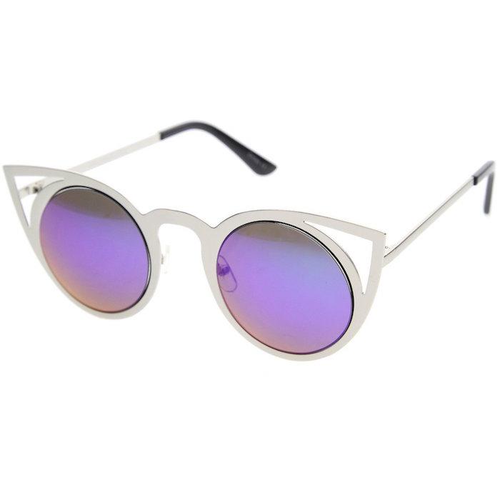 e0b20c25320d zeroUV - Womens Fashion Round Metal Cut-Out Flash Mirror Lens Cat Eye  Sunglasses