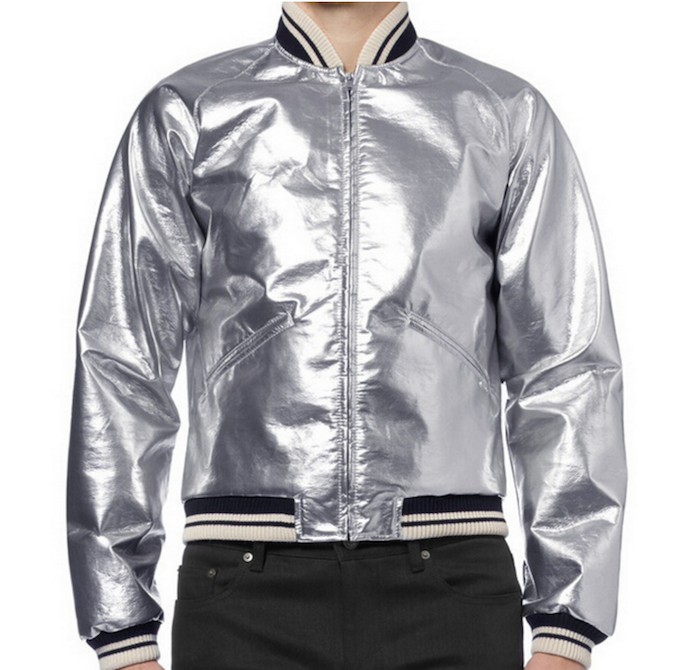 Men's Fashion Silver Bomber Leather Jacket 2015 New Slim Zip Pockets Cool Party Coat for Spring Autumn