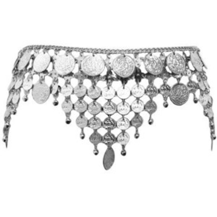Dangling Silver Toned Draped Belly Dance Chain Link Coin Belt | Blingby