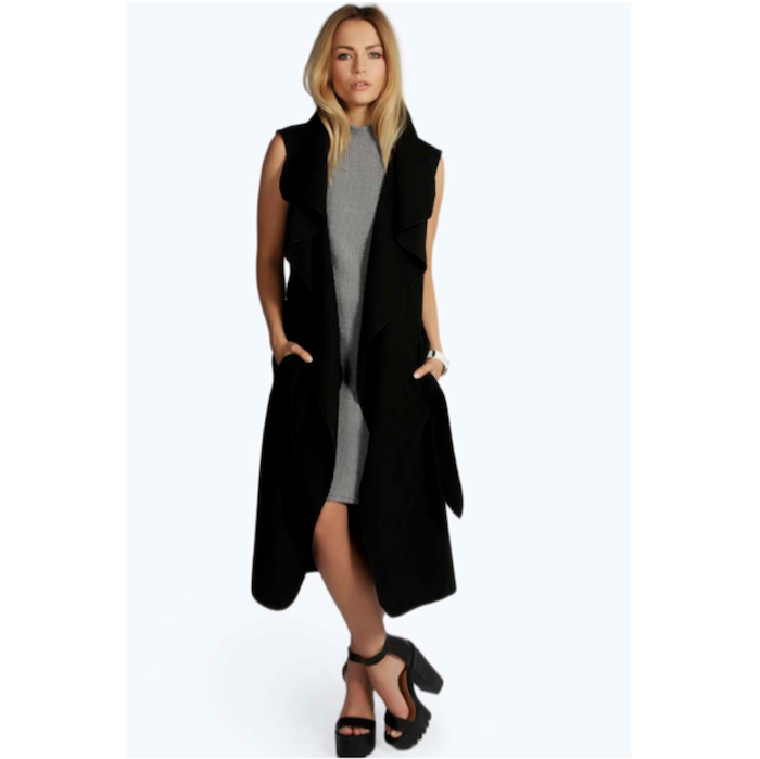 1e87c7f6c1e67 BOOHOO OLIVIA WATERFALL BELTED SLEEVELESS COAT
