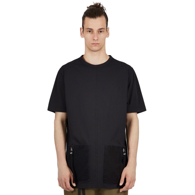 BLOOD BROTHER ZIP CAPTAIN T-SHIRT IN BLACK