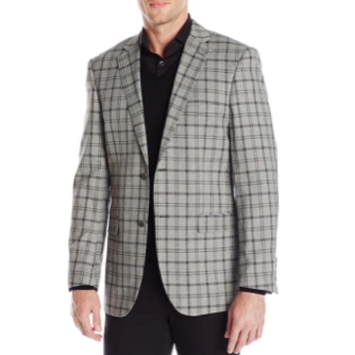 Perry Ellis Men's Grey Plaid 2 Button Slim Fit Sport Coat