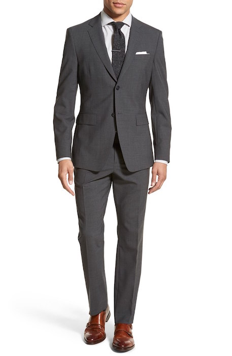 Jack Spade Trim Fit Solid Stretch Wool Suit