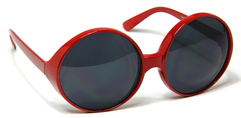 Dark Lens Red Frame Sunglasses Oversized Huge Round Circle Womens ...