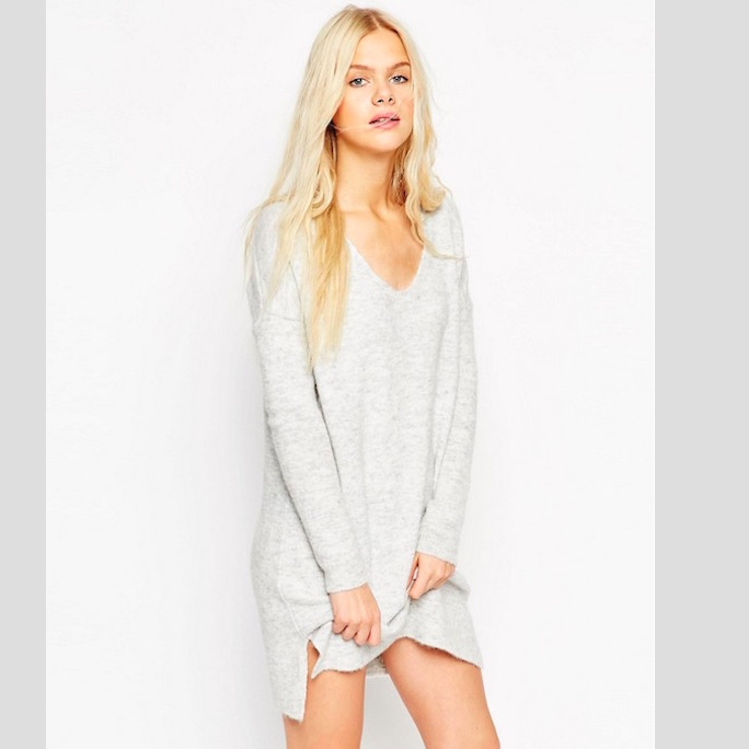 ASOS Sweater Dress In Soft Yarn With Deep V