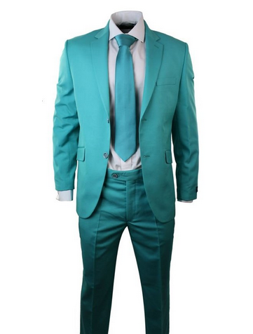 M Apparel Mens Turquoise Suit Blazer Trouser & Tie Party Prom ...