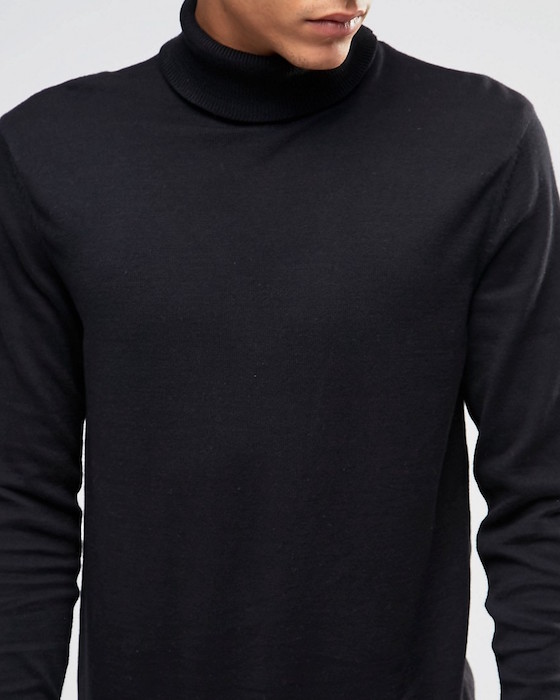 11d5f3f89 ASOS Longline Roll Neck Jumper in Black Cotton