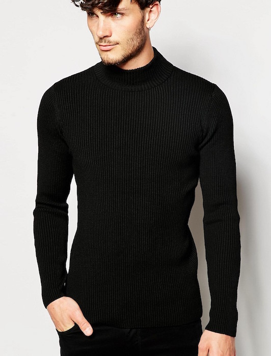 ASOS Muscle Fit Turtleneck Ribbed Sweater in Black