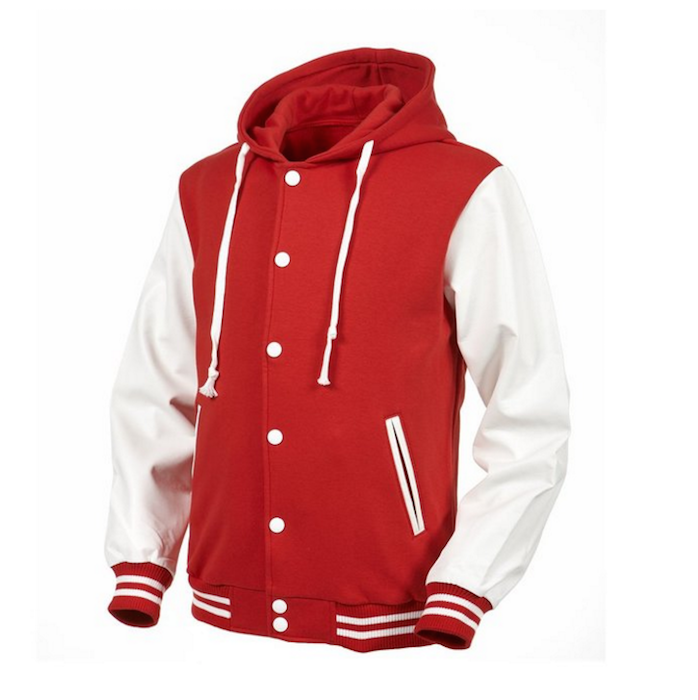 Angel Cola Red White Hoodie Varsity Cotton Leather Baseball