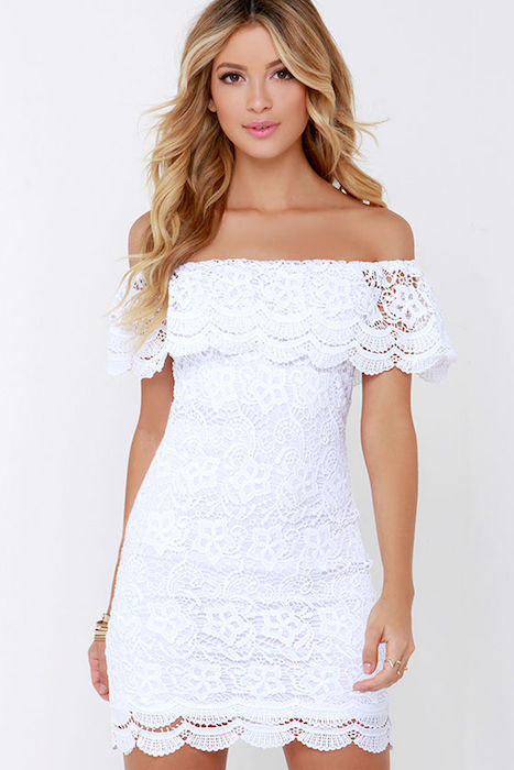 d89d7462d2c1 Islands in the Stream White Lace Off-the-Shoulder Dress