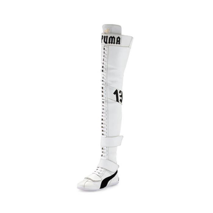 Fenty Puma by Rihanna Eskiva Leather Over-the-Knee Sneaker Boot, White