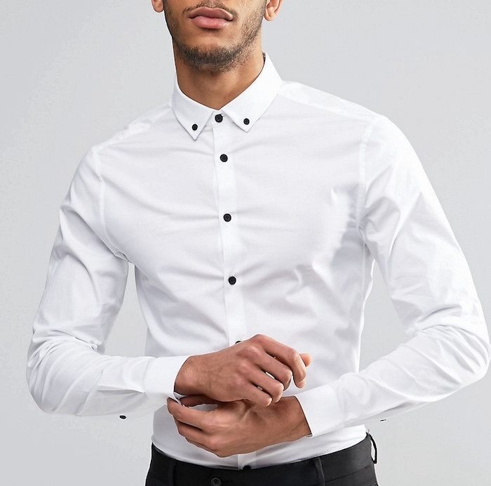 31f4e827ab74 ASOS Skinny Shirt In White With Contrast Buttons And Button Down Collar