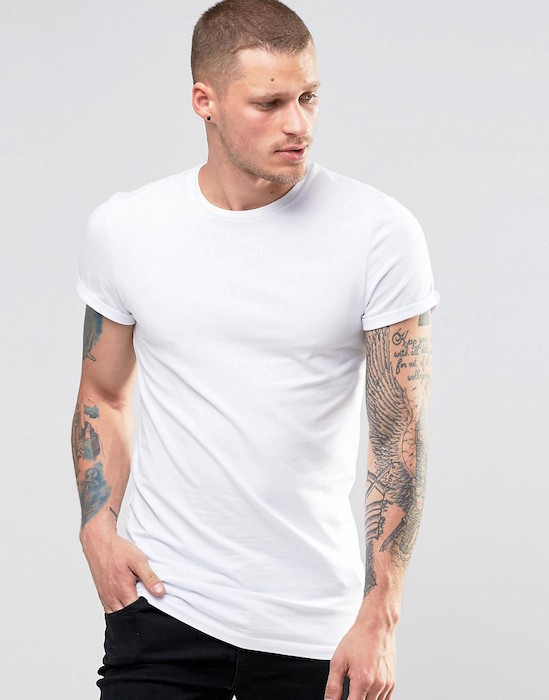 70db68d2f ASOS Longline Muscle T-Shirt With Roll Sleeve In White